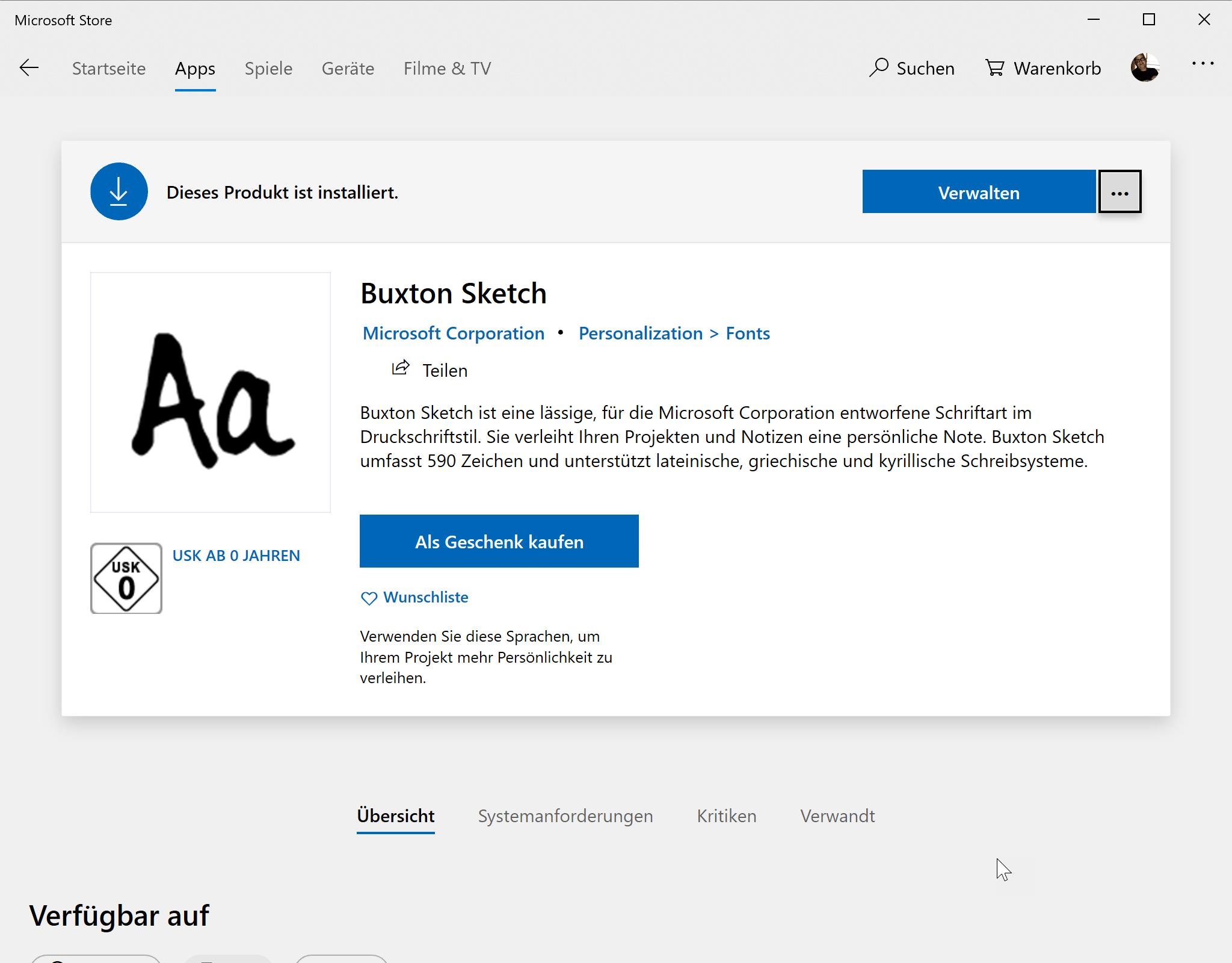Schrift Buxton Sketch im Microsoft Store