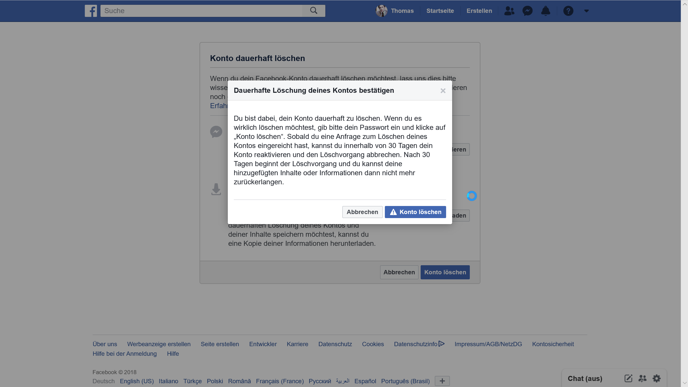 Facebook Konto löschen Bestätigung Screenshot