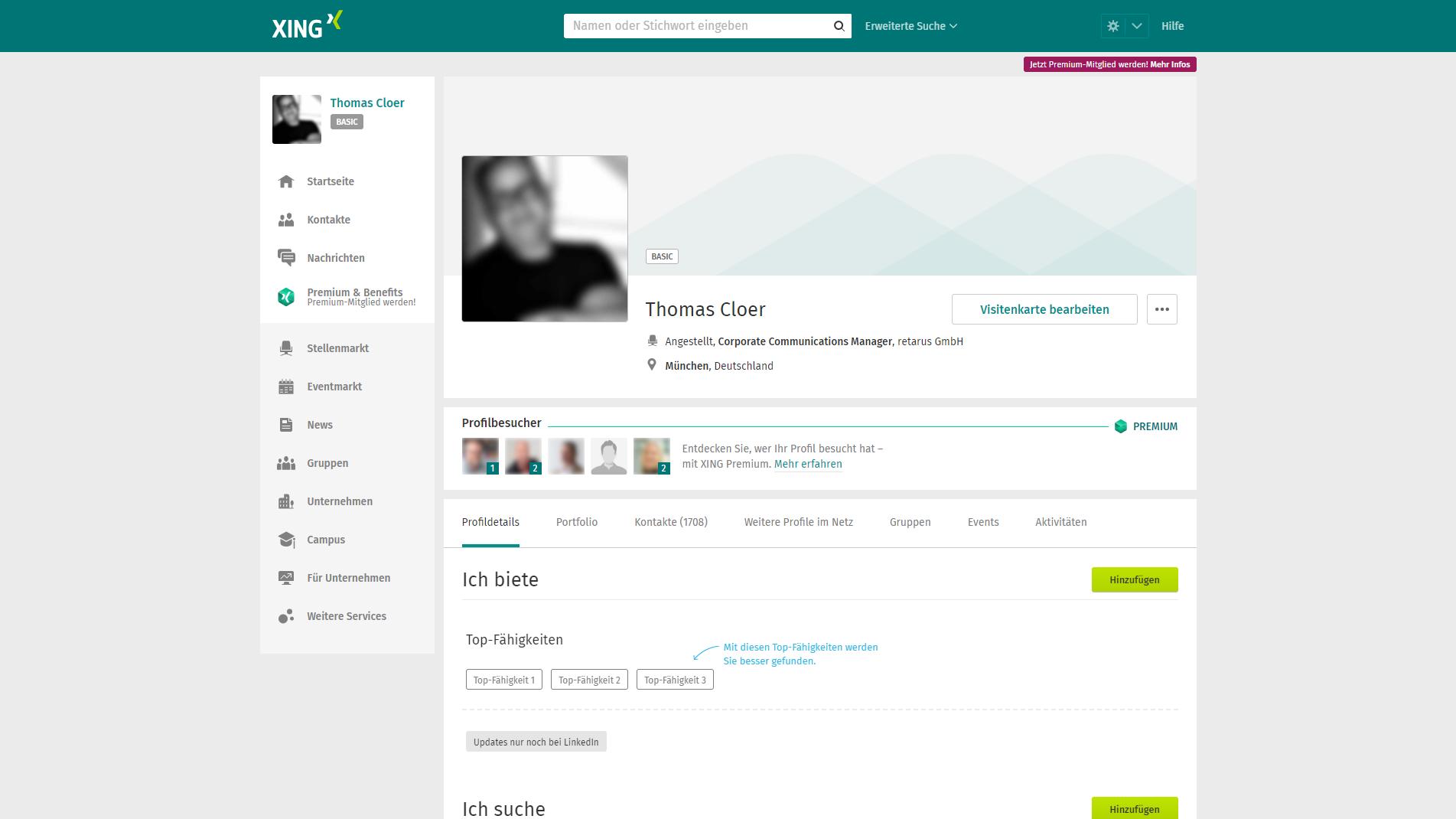 Xing-Profil Thomas Cloer, Screenshot