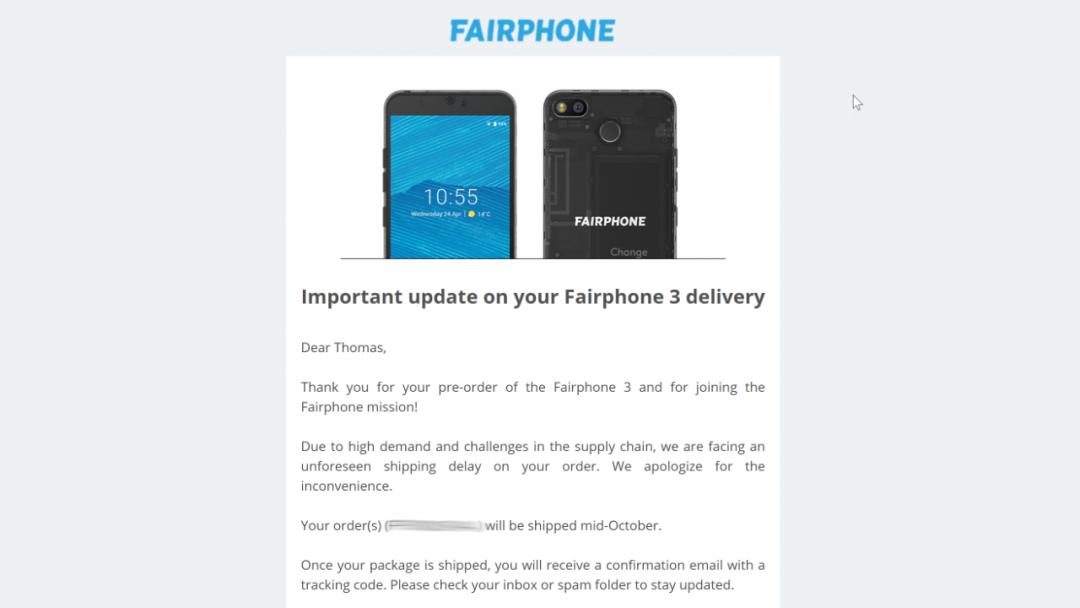 Fairphone-Mail, Screenshot