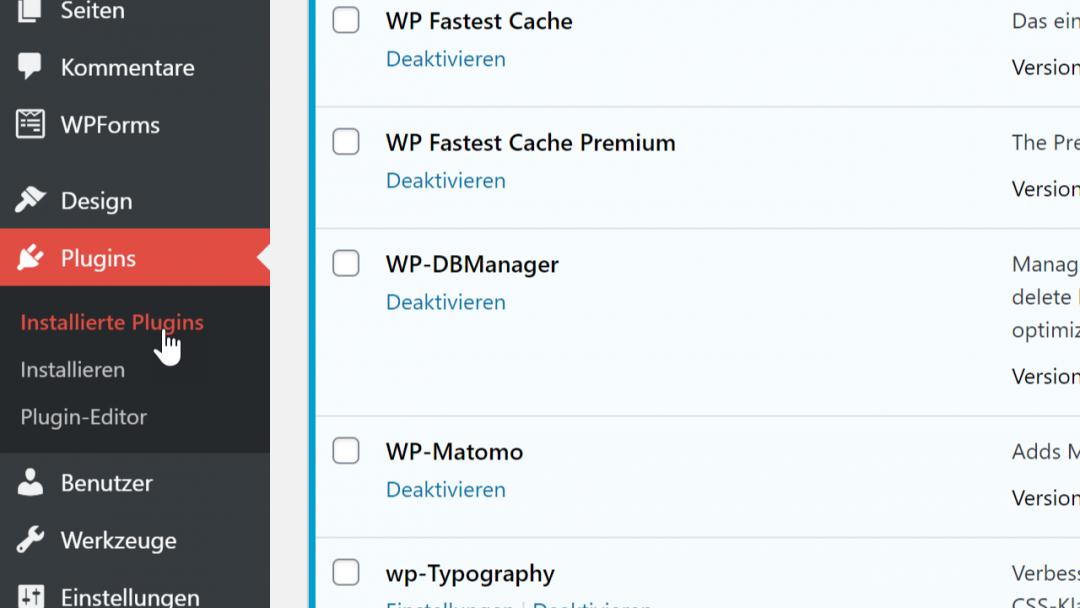 WP Admin. Plugins, Screenshot