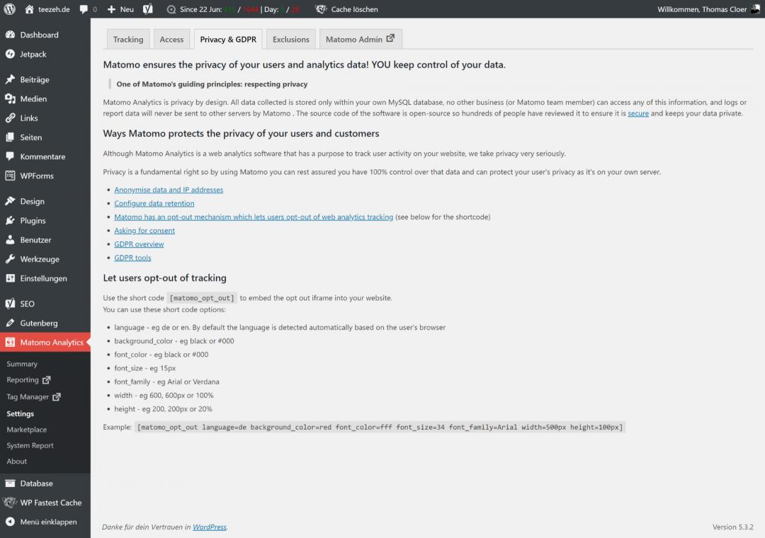 Matomo GDPR settings in WP Admin, screenshot