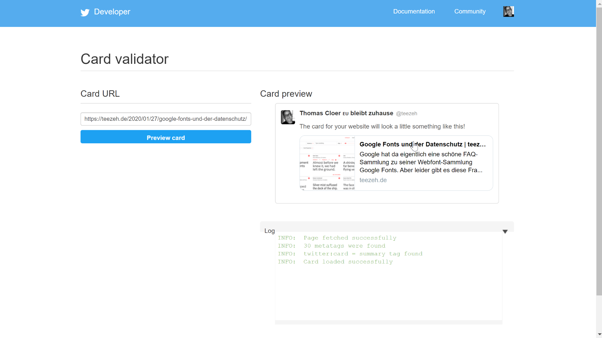 Twitter Card Validator Screenshot