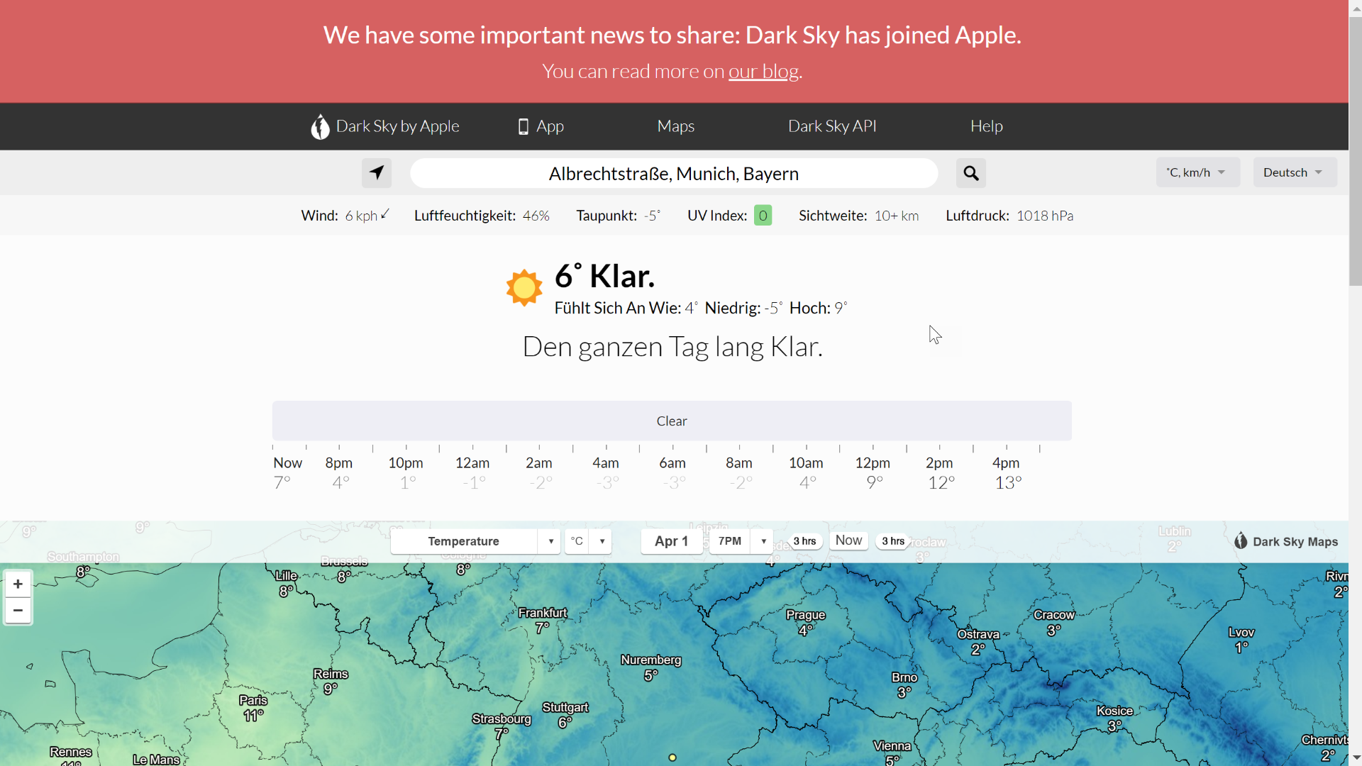 Screenshot Dark Sky für München