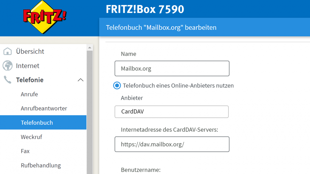 Mailbox.org via CardDAV in der Fritzbox, Screenshot